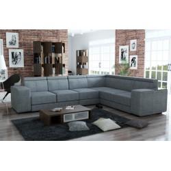 Canapé d'angle 6 places CAARIA tissu chiné gris