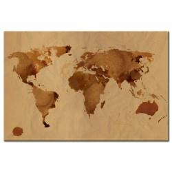 Tableau Le monde peint avec du café