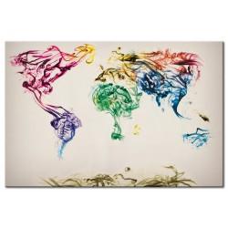 Tableau Carte mondiale en fumée colorée