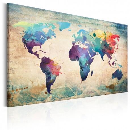 Tableau mappe monde couleur de l'arc en ciel