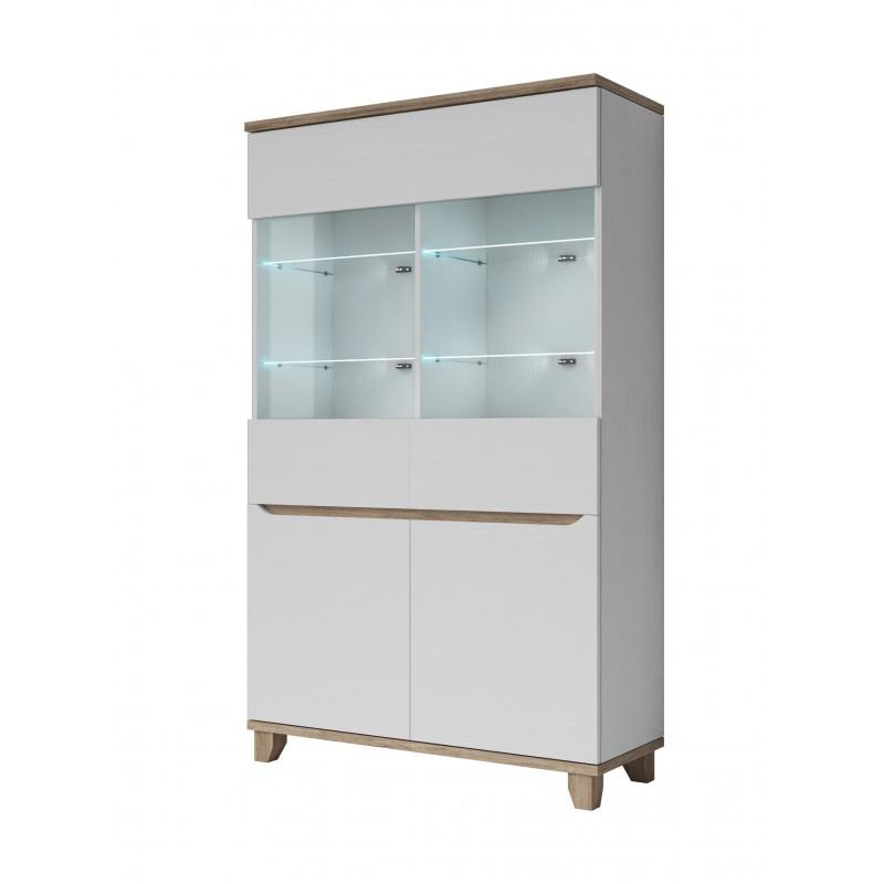 vitrine 2 portes lier style scandinave en blanc et bois. Black Bedroom Furniture Sets. Home Design Ideas