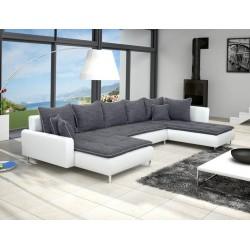 Canapé d'angle en U DANTE 6 à 7 places gris foncé et blanc