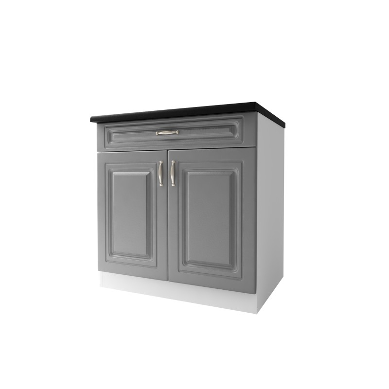Meuble de cuisine bas 2 portes 1 tiroir 80 cm dina en for Meuble cuisine 2 portes
