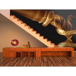 Papier peint Fumée orange abstraite sur fond noir