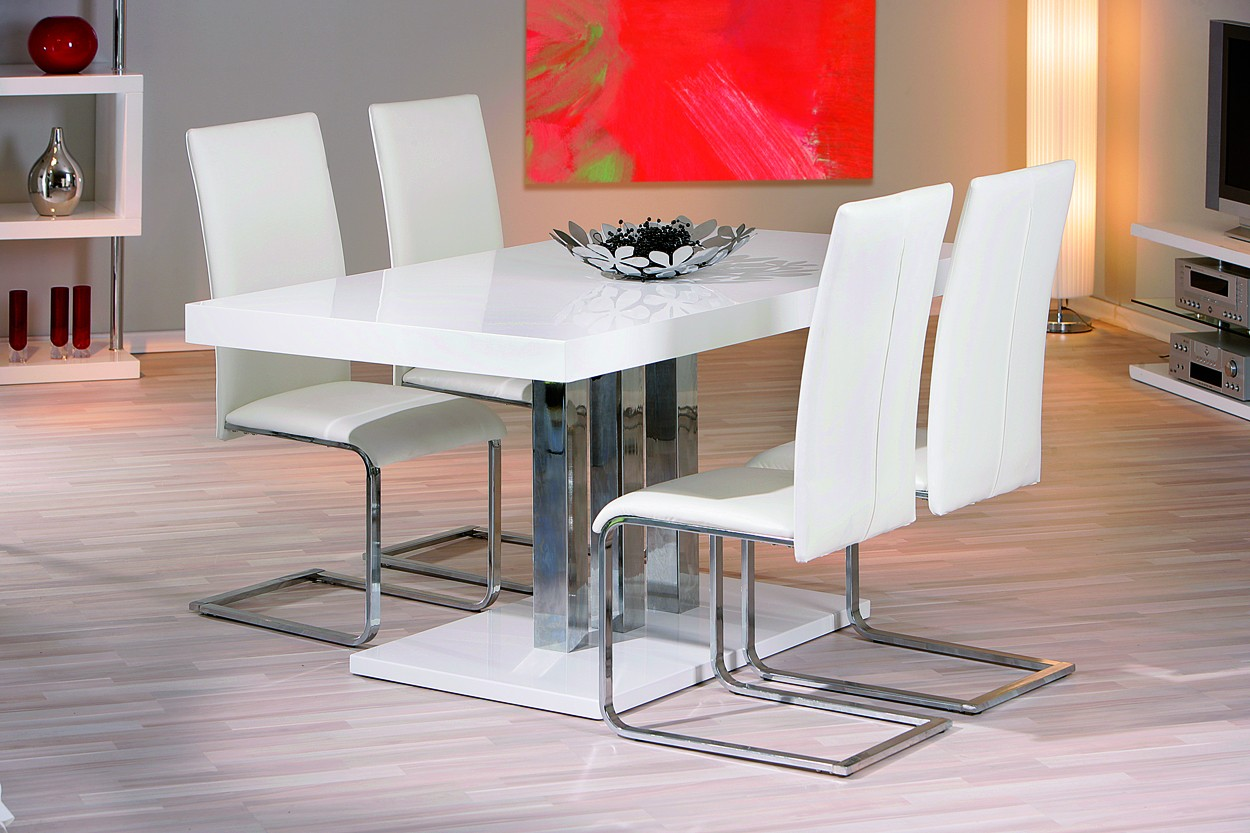 Table A Manger Palazzo Blanche Pieds Metal Chrome 160 X 90 X 75