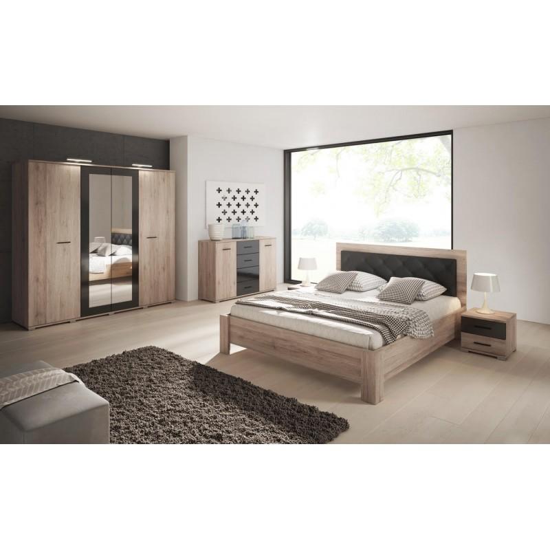 lit 160 x 200 bari en mdf couleur bois de ch ne et t te de lit simili. Black Bedroom Furniture Sets. Home Design Ideas