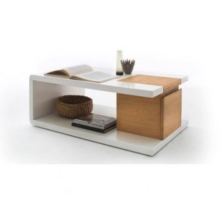 Table Basse Tibar Blanc Laqué et Caisson