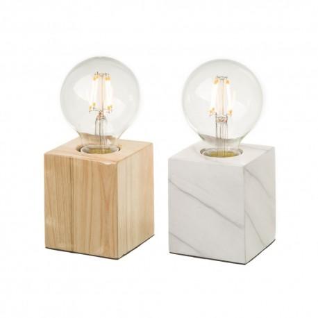 Lot de 2 lampes bi-matière avec ampoules apparentes 7,70 x 7,70 x 18 cm