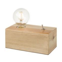 Lampe en bois avec ampoule apparente 21,50 x 11 x 18 cm