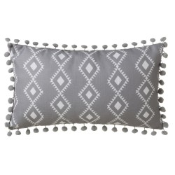 Coussin ethnique rectangle avec pompons gris et blanc 50x30 cm