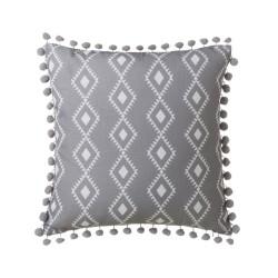 Coussin ethnique avec pompons gris et blanc 45x45 cm