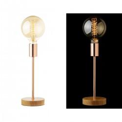 Lampe en cuivre et bois avec ampoule apparente 12 x 12 x 48 cm
