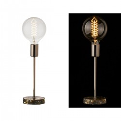 Lampe en métal et bois avec ampoule apparente 12 x 12 x 48 cm
