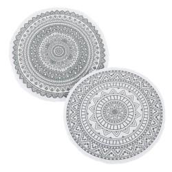 Ensemble de 2 tapis ronds gris et blanc 90x90 cm