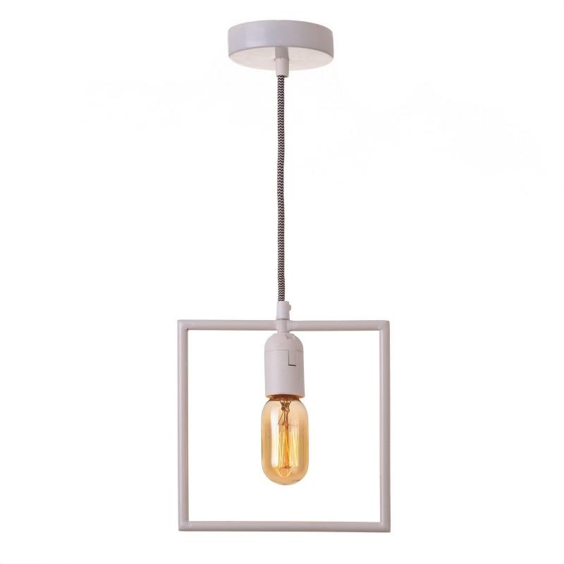 Suspension rectangulaire blanche en fer 20 x 3 50 x 106 cm for Suspension en fer