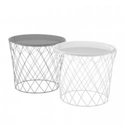 Lot de 2 tables basses blanche et grise en métal