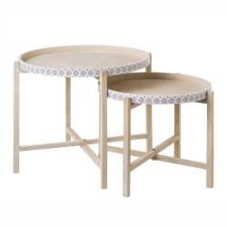 Lot de 2 tables basses gigognes en bois avec motifs
