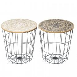Lot de 2 tables basses en métal avec plateau en MDF à motifs