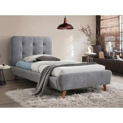 Lit TIFFANY gris en velours style scandinave 90 x 200 cm