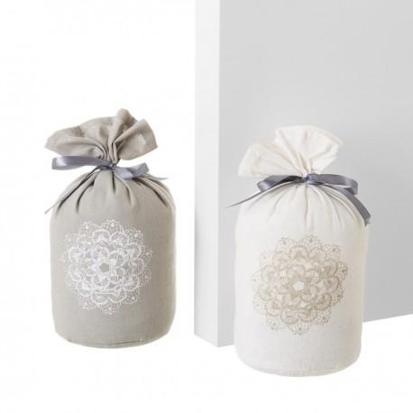 Cale-porte x2 en tissu et sable 12 x 12 x 22 cm gris et blanc