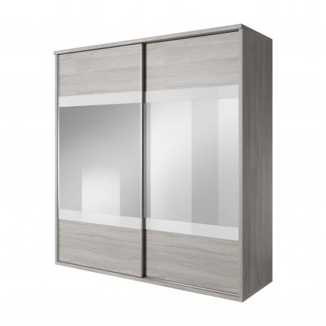 Armoire MONTREAL gris et blanc avec miroir
