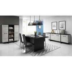 Salle à manger complète OLEN moderne coloris chêne gris et noir