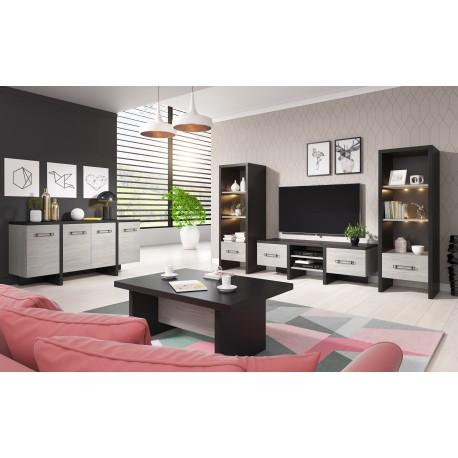 Salon complet OLEN moderne coloris chêne gris et noir