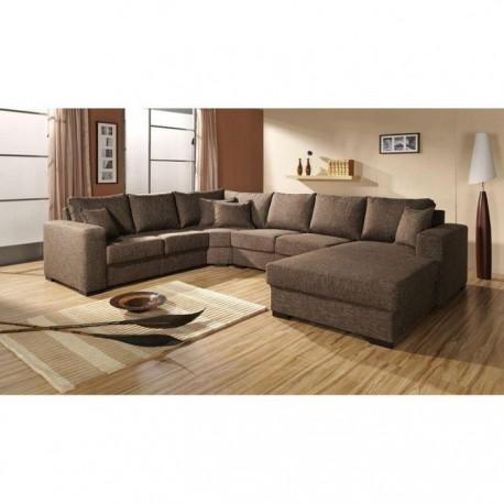 Grand Canapé d'angle panoramique en U OARA 6 à 7 places en tissu brun camel design pas cher
