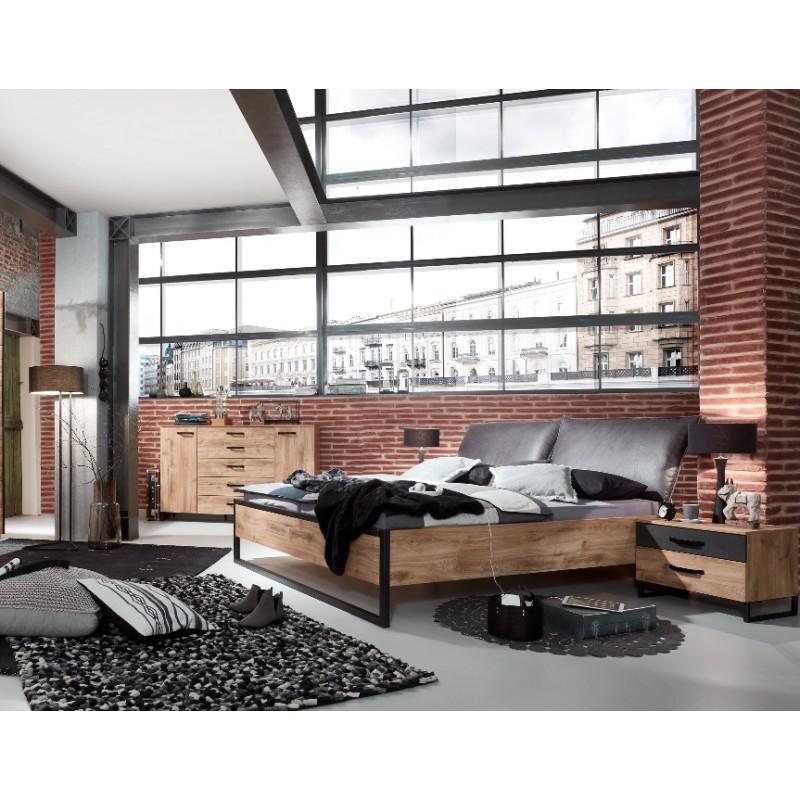 Chambre adulte style industriel NEW YORK imitation chêne et métal noir