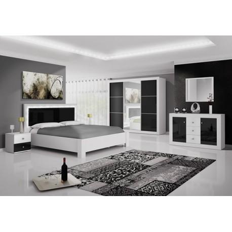 Chambre complète ROMA noir et blanc laqué avec LED