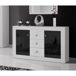 Commode roma 140 cm noir et blanc