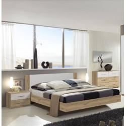 Chambre adulte NORIA imitation chêne et blanc