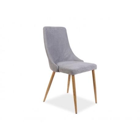 Chaise Nobel grise avec pied en bois