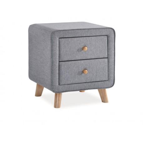 Table de chevet MALMO tissu gris et pieds en bois