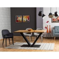 Table industrielle VECTOR plateau en bois et pieds en métal
