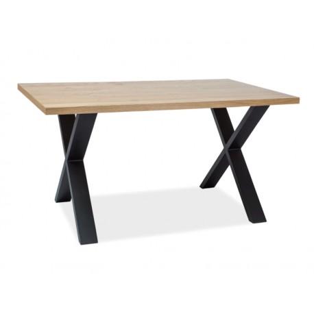 Table en chêne XAVIERO II pied en métal industriel loft