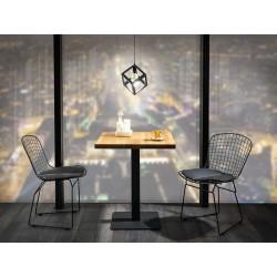 table carré avec plateau en chêne et pieds en metal