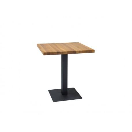 table carré avec plateau en chêne et pieds en metal industriel