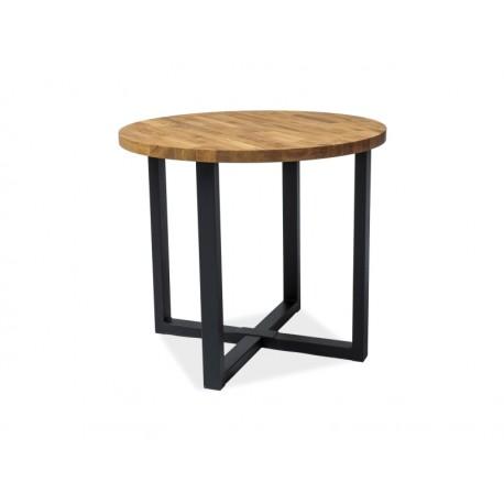 Table ronde industrielle en chêne ROLF avec pied en métal
