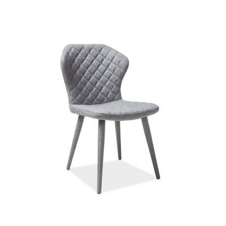 Chaise en tissu effet rembourré LOGAN gris