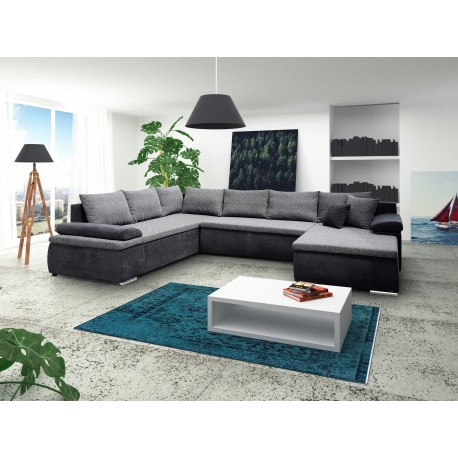 Canapé d'angle panoramique CESARO U convertible en lit avec coffre gris et blanc