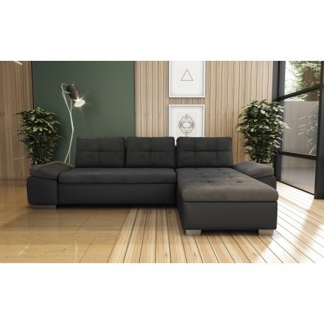 canapé d'angle convertible en tissu gris et contour en simili cuir noir