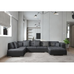Canapé panoramique en U Atrium en tissu et simili design et pas cher