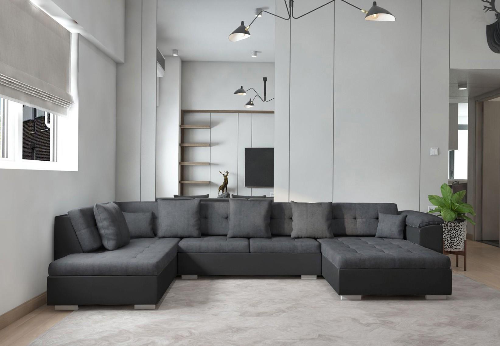 Mousse Polyuréthane 30 Kg M3 Canapé canapé d'angle panoramique atrium en u gris de 6 à 7 places