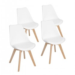 Lot de 4 chaises scandinaves blanches IJIE