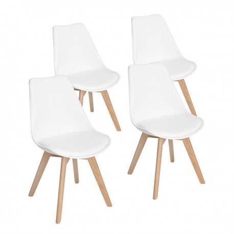 Lot de 4 chaises scandinaves blanche IJIE