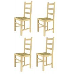 Lot de 4 chaises RUSTICO en bois avec assise paille