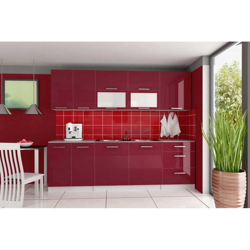Cuisine compl te 2m60 laqu e tara design moderne for Cuisine complete design