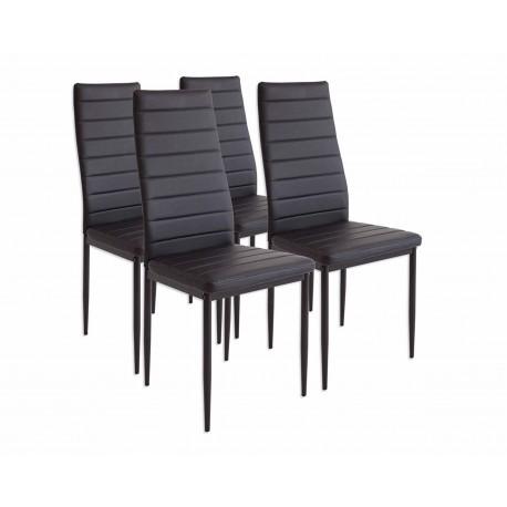 Lot de 4 chaises ALBA noir avec pieds en acier