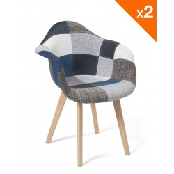 Lot de 2 chaises scandinaves Patchwork NEDA